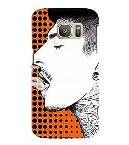 Man Smoking Art 3D Hard Polycarbonate Designer Back Case Cover for Samsung Galaxy S7 Edge :: Samsung Galaxy S7 Edge Duos G935F