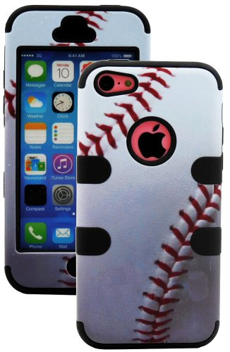 Mylife (Tm) Black + White Baseball Print 3 Layer (Hybrid Flex Gel) Grip Case For New Apple Iphone 5C Touch Phone (External 2 Piece Full Body Defender Armor Rubberized Shell + Internal Gel Fit Silicone Flex Protector + Lifetime Waranty + Sealed Inside Myli
