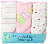 Spasilk Soft Terry Hooded Towel Set, Pink Baby, 3-Count