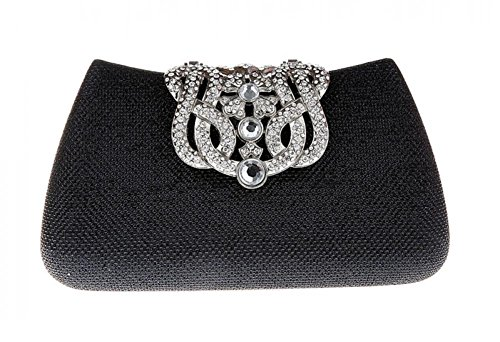 Vochic Glamour Rhinestone Hard Case Evening Wedding Party Clutch Purse Wallet (Black2)
