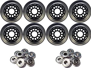 80mm 85a Black Clear Inline Outdoor Wheels 8-Pack + Abec 7 Bearings by TGM Skateboards