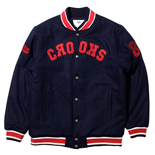 Crooks & Castles Mens Flag 85 Woven Varsity Jacket Medium White/Cobalt