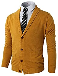 H2H Mens Basic Shawl Collar Knitted Cardigan Sweaters with Ribbing Edge MUSTARD US S/Asia M (CMOCAL07)
