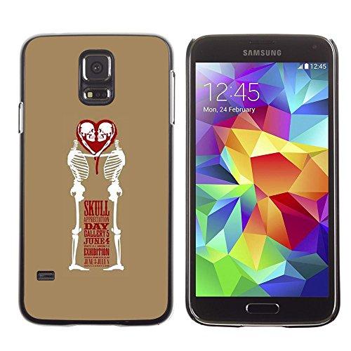 Copertura di plastica Shell Custodia protettiva    Samsung Galaxy S5 SM-G900    Love Skull Funny Brown White Heart @XPTECH