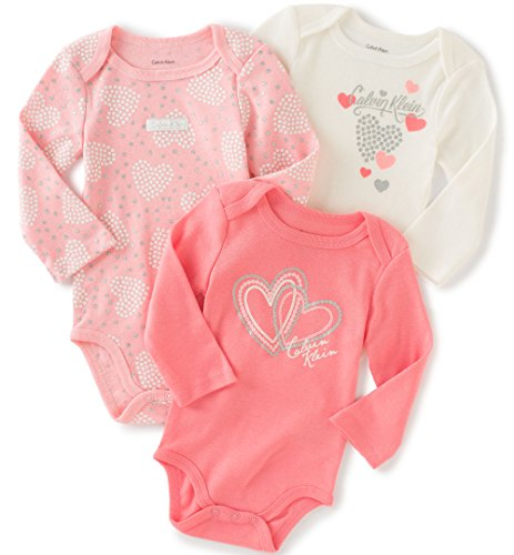 Calvin Klein Baby Girls' Assorted Long Sleeve Bodysuit, Pink/Coral/White, 0-3 Months (Pack of 3)