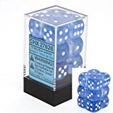 Chessex Dice d6 Sets: Borealis Sky Blue with White - 16mm Six Sided Die (12) Block of Dice by Chessex