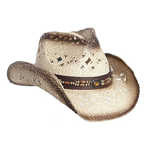 Tea Stain Straw Cowboy Hat for Women, Faux Leather Trim, Shapeable Brim