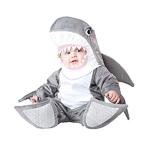 [Dantiya Baby Little Shark Halloween Play Romper Costume 6-9M] (Penguin Halloween Costumes For Baby)