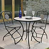 Trueshopping Sawley 3 Piece Tiled Bistro Garden Patio All Weather Outdoor Dining Set Table And 2 Chairs Hard-Wearing Cafe Style Furniture