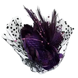 Black Dotted Mesh Accent Cocktail Hair Clip Corsage Purple : Beauty