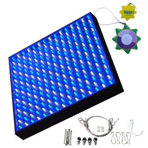 Hqrp Blue + White Grow Led Light Panel For Budding, Flowering Promotion And Increase Of Effect For Photosynthetic 14W 112 White + 113 Blue Led 7000K / 450 Nm + Hanging Kit + Uv Meter