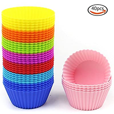 Goodlucky365 40-pack silicone baking cup/silicone cupcake cup/muffin silicone cup (40 Round Cups )- Non-Stick, Heat Resistant (Up to 480°F) Baking Molds, Food Grade-8 Vibrant Colors Round