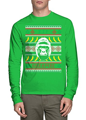 Long Sleeve Mens RIP Harambe - Ugly Christmas Sweater T-shirt (Large, KELLY GREEN) (Grinch Sweaters)