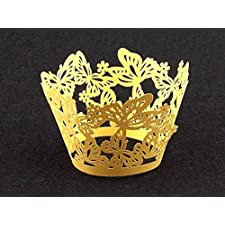 Laser cortó las envolturas de la magdalena Envolturas Casos mariposa decoración de la torta (12, Gold)