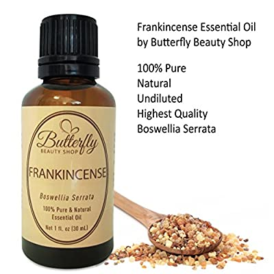 Frankincense Essential Oil: 30mL/1oz. 100% Pure Boswellia Serrata. Uses: Skin Care, Wrinkles, Scars & Immune Support. Natural Relief for Stress, Anxiety & Trouble Sleeping. Tips & Uses Guide Included.