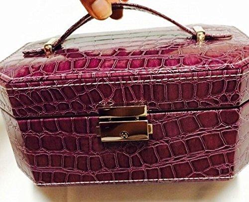 Jewelry Case Box Storage Organizer Vanity Make Up Jewelry Chest Gift Snake Skin Purple 2 Tier front-776137
