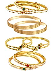 Jewels Galaxy Combo Of Broad Designer Pearls Bangles And Gold Plated Bangles - Pack Of 8