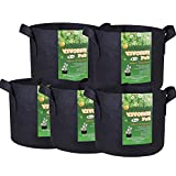 VIVOSUN 5-Pack 7 Gallons Fabric Pots Grow Bags with Handles