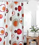 PEVA rideau de douche 120 x 200 cm blanche marron rouge cercles bagues inclue 120x200
