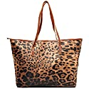 MG Collection GIL Exotic Leopard Print Oversized Bucket Shopper Shoulder Bag