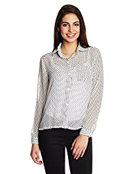 Kimyra Polka Print Button Down Shirt in White