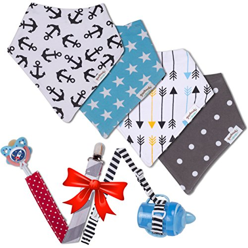 Baby Bandana Drool Bibs Unisex Cute Baby Bibs 4 Pack Modern Baby Gift Set With Pacifier Clip&Bottle Strap By Pashoshi