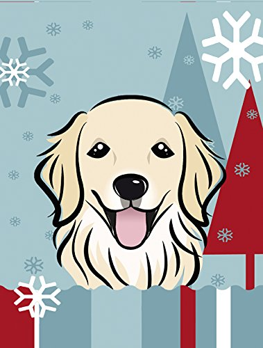Winter Holiday Golden Retriever Canvas House Size Flag, Multicolor, Large