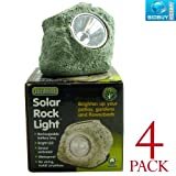 4 Solar Rock Lights - Sensor Activated - Bright White LED Light - Great for Borders, Beds, Plant Pots or Patio