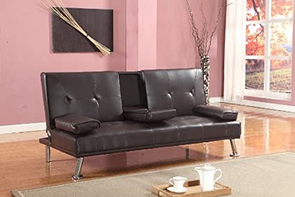 Cinema estilo futón Sofabed con bebidas mesa sofá cama de piel sintética en color marrón