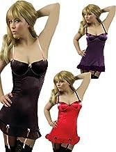 Yummy Bee Lingerie Satin Babydoll Dress Set Suspenders + Black Lace Stockings Plus Size 8 - 30