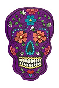 Amazon Com Day Of The Dead Sugar Skull Embroidered Pillow