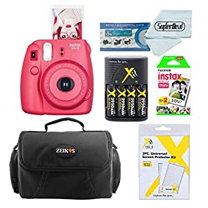 Fujifilm Instax Mini 8 Instant Film Camera With Fujifilm Instax Mini Instant Film Twin Pack (20 Sheets) + Compact Bag Case + Batteries & Battery Charger