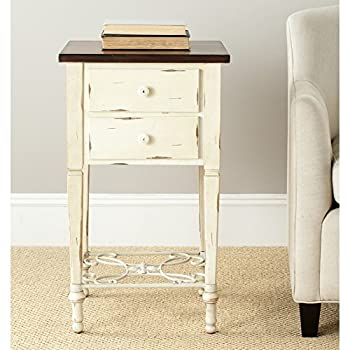 Safavieh American Home Collection Dorset Antique White and Dark Brown Two Drawer End Table