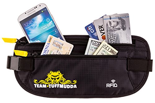 Tuff Mudda Money Belt 100% RFID Protection Perfect Money Belt for Travel & Keeping Your ID Secure - Black - Lightweight