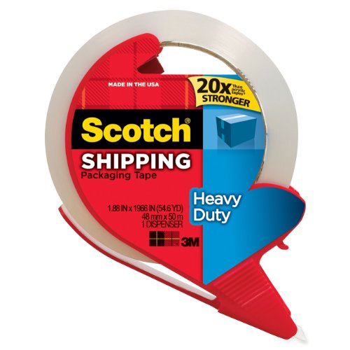 Scotch Heavy Duty Shipping Packaging Tape with Refillable Dispenser, 1.88 in x 54.6 yd (3850-RD) (Packing Tape Refill compare prices)