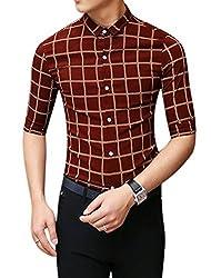 Man Checks Single Breasted Half Length Sleeves Casual Shirt