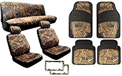 See 15 Piece Complete Muddy Water Forest Camouflage Interior Set for Car & Trucks - 2 Front Seats - Rear Bench - Premium 4pc Heavy Duty Floor Mat Set + 2x Camo License Plate Frames - Snow Rain Duck Hunting Details