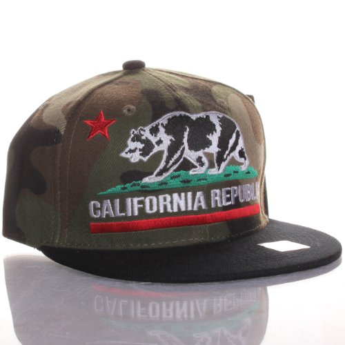 California Republic Flat Bill Bear Logo Only Style Snapback Hat Cap Camo Army at Amazon.com