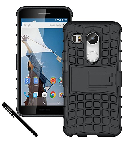 Nexus 5X Case, OEAGO LG Google Nexus 5X (2015 Release) Case Cover Accessories – Tough Rugged Dual Layer Protective Case with Kickstand For Google Nexus 5X (2015) – Black