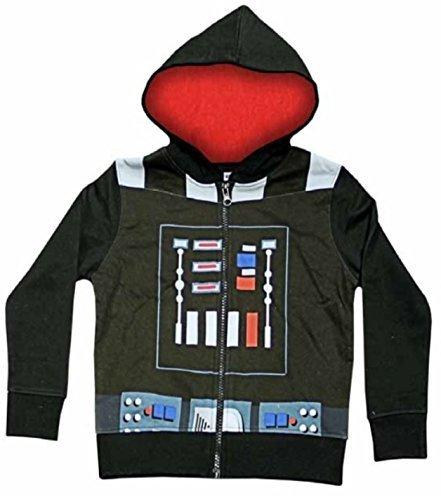 Official Star Wars Darth Vader da ragazzo con cappuccio e Zip, colore: nero, misure per bambini Nero  nero