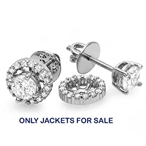 0.33 Carat (ctw) Only Jackets 14k White Gold Round Diamond Removable Jackets for Stud Earrings 1/3 CT