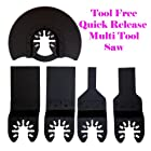 5 Multi Tool Oscillating Multitool Saw Blade for Craftsman 20v Bolt-on Mm20 Rockwell Hyperlock Shopseies 12v Universal Fit Porter Cable Black and Decker Bosch GOP Tool Free Quick Release Quick Fit System