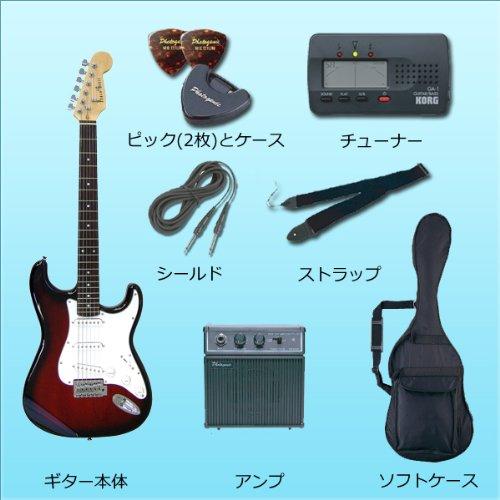 Photogenic フォトジェニック エレキギター 初心者 入門 8点 バリューセット ストラトタイプ ミニアンプ チューナー付き / ST180 BK