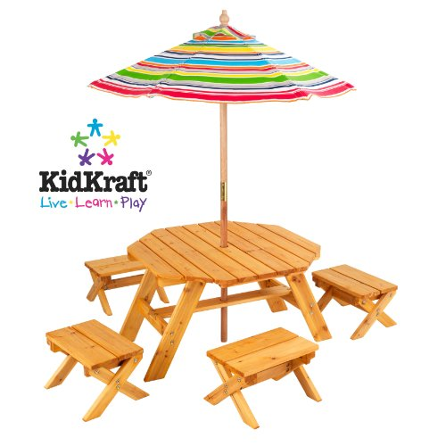 KidKraft Octagon Table with Striped Umbrella & 4 Stool Set (Natural) (33