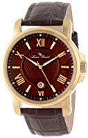 Lucien Piccard Men's LP-12358-YG-04 Cilindro Brown Textured Dial Brown Leather Watch from Lucien Piccard