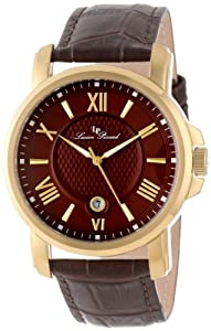 Lucien Piccard Men's LP-12358-YG-04 Cilindro Brown Textured Dial Brown Leather Watch