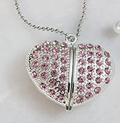 Anyusb053A Fancy Jewellery Studded Heart Shape Pen Drive (8 Gb) + Exclusive Hand Made Gift Box