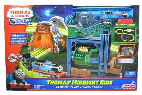 Fisher Price - Thomas and Friends Trackmaster Motorized Railway Train set - THOMAS' MIDNIGHT RIDE with Thomas The Tank Engine, Mining Car, Glow-in-the-Dark Figure 8 Track Layout, Light Up Mine Tunnel and Cargo Loading Station