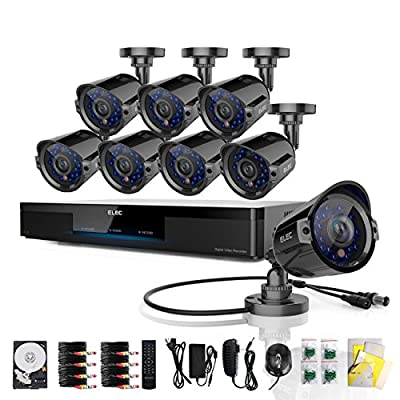 ELEC® New 8 Channel Sirius CCTV H.264 960H HDMI DVR with 2TB Hard Drive Pre-installed + 8 600tvl Outdoor Cameras Realtime Home Surveillance Security Video Camera System 3G Kit CVK-SR08C7-2TB