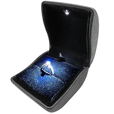 リングをライトで輝かせるリングケース (ブラック) 結婚指輪